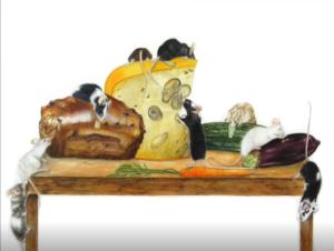 jeanne de chantal nyckees aquarelliste animalier belge peinture souris nourriture
