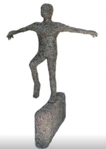 jeanne de chantal nyckees sculpteur sculpture metallique homme equilibriste